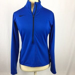 Nike Dri Fit Long Sleeve half zip Blue Women's Top